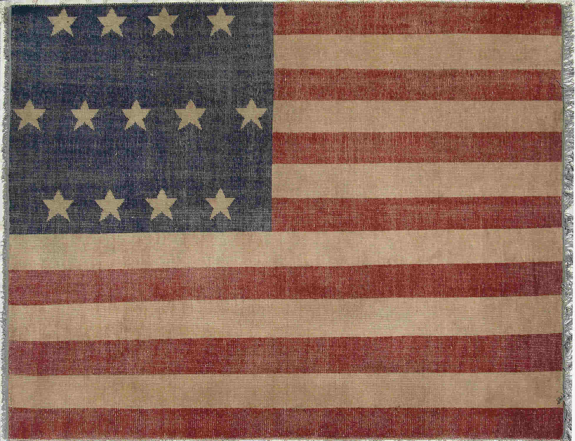 EORC Ot73Rd Red Hand Knotted Wool American Flag Rug