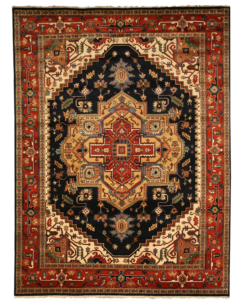 Eorc P10bnv Navy Hand Knotted Wool Serapi Rug