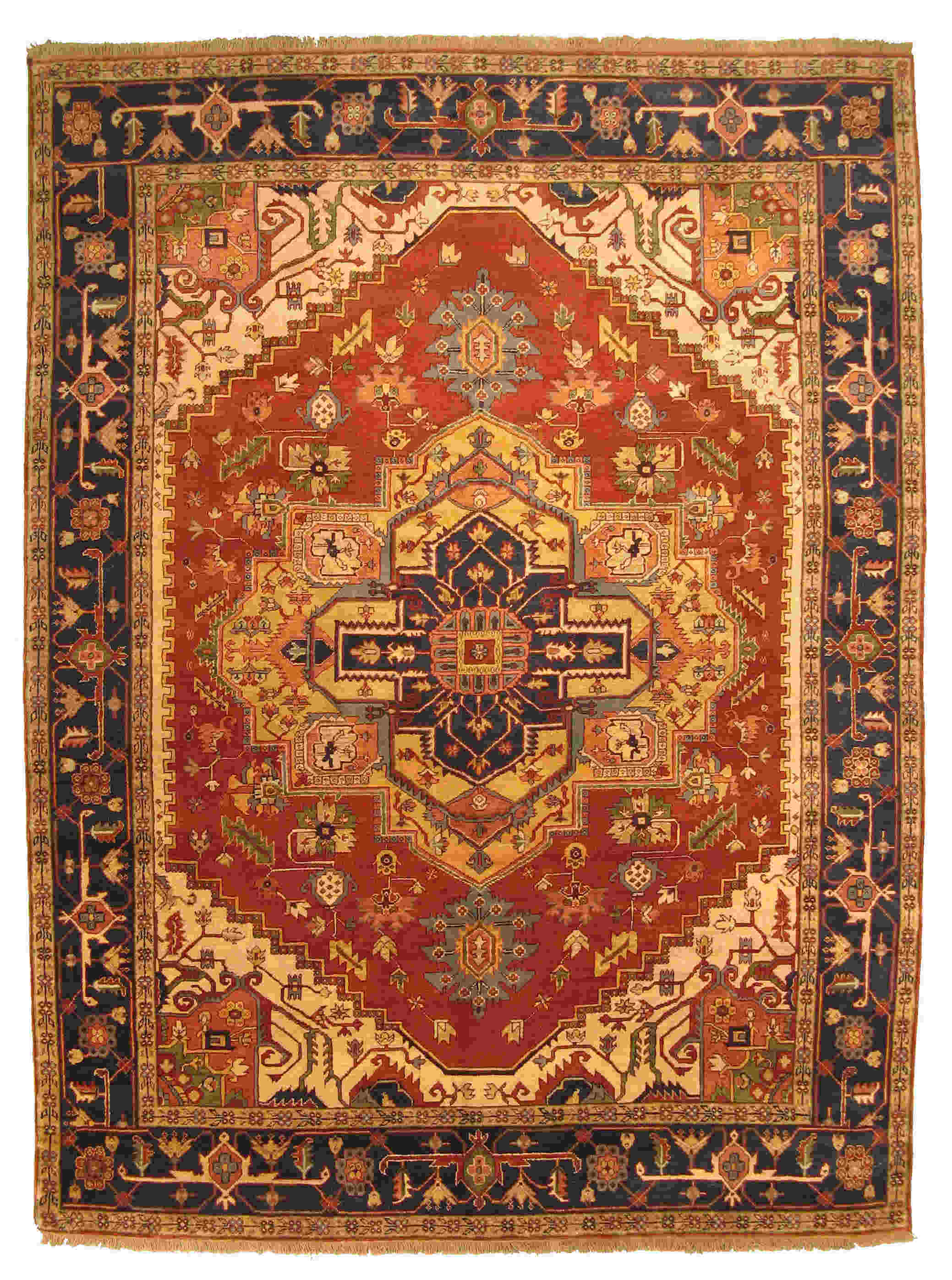 Eorc P10brt Rust Hand Knotted Wool Serapi Rug