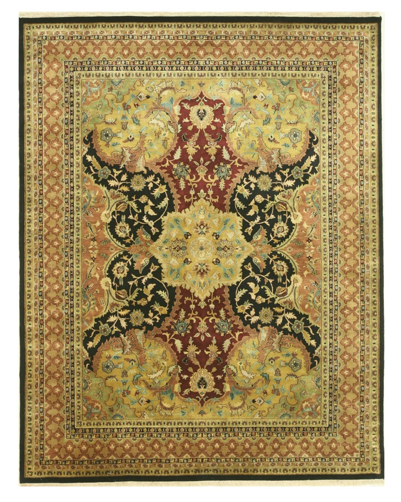 Eorc Pr510bk Black Hand Knotted Wool Polonaise Rug