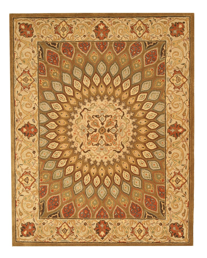 Eorc Sht12bn Brown Hand Tufted Wool Gombad Rug