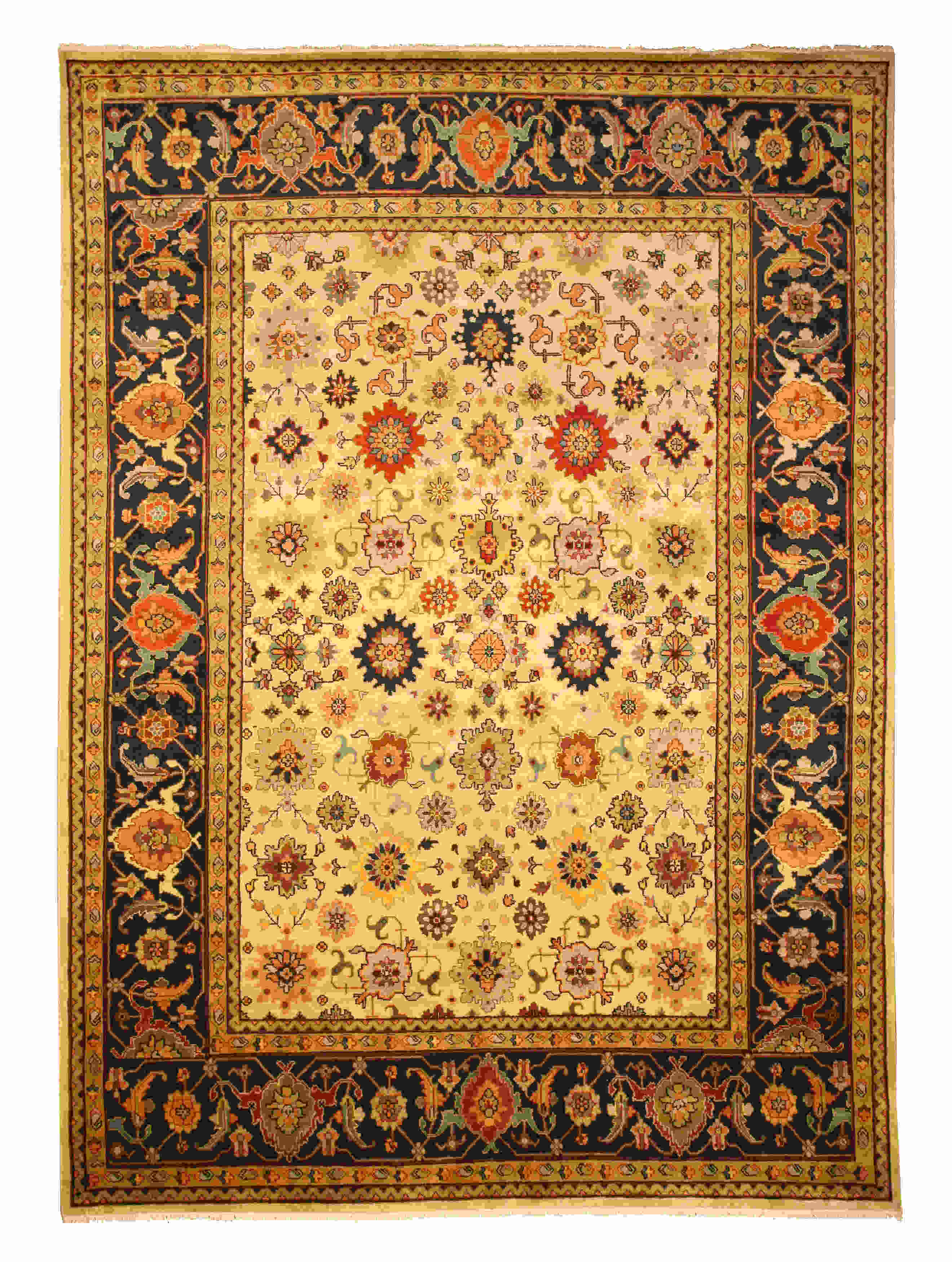 Eorc Sht19iv Ivory Hand Knotted Wool Ivory Super Mahal Rug