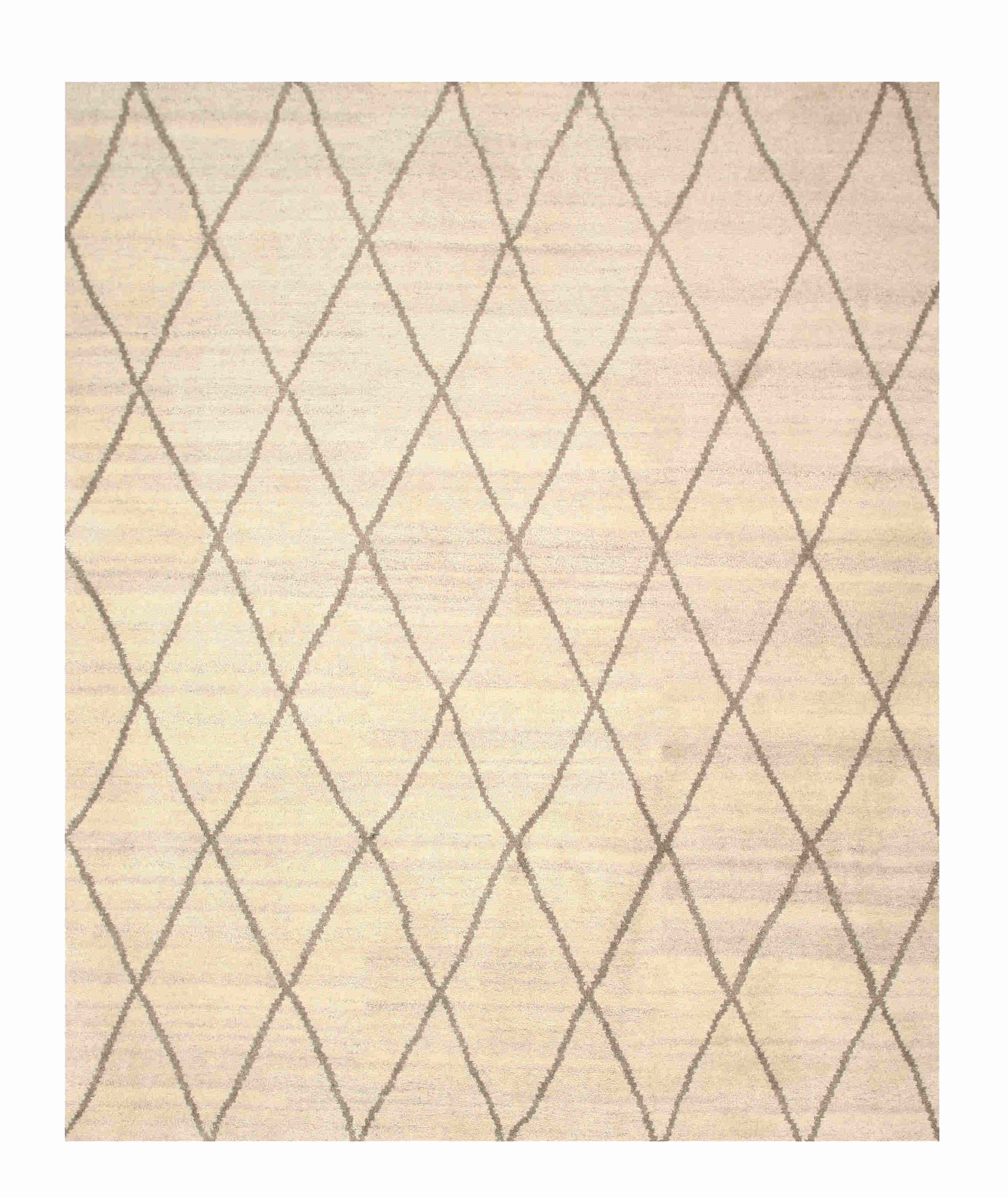 EORC Sht22Iv Ivory Hand Knotted Wool Trellis Moroccan Rug