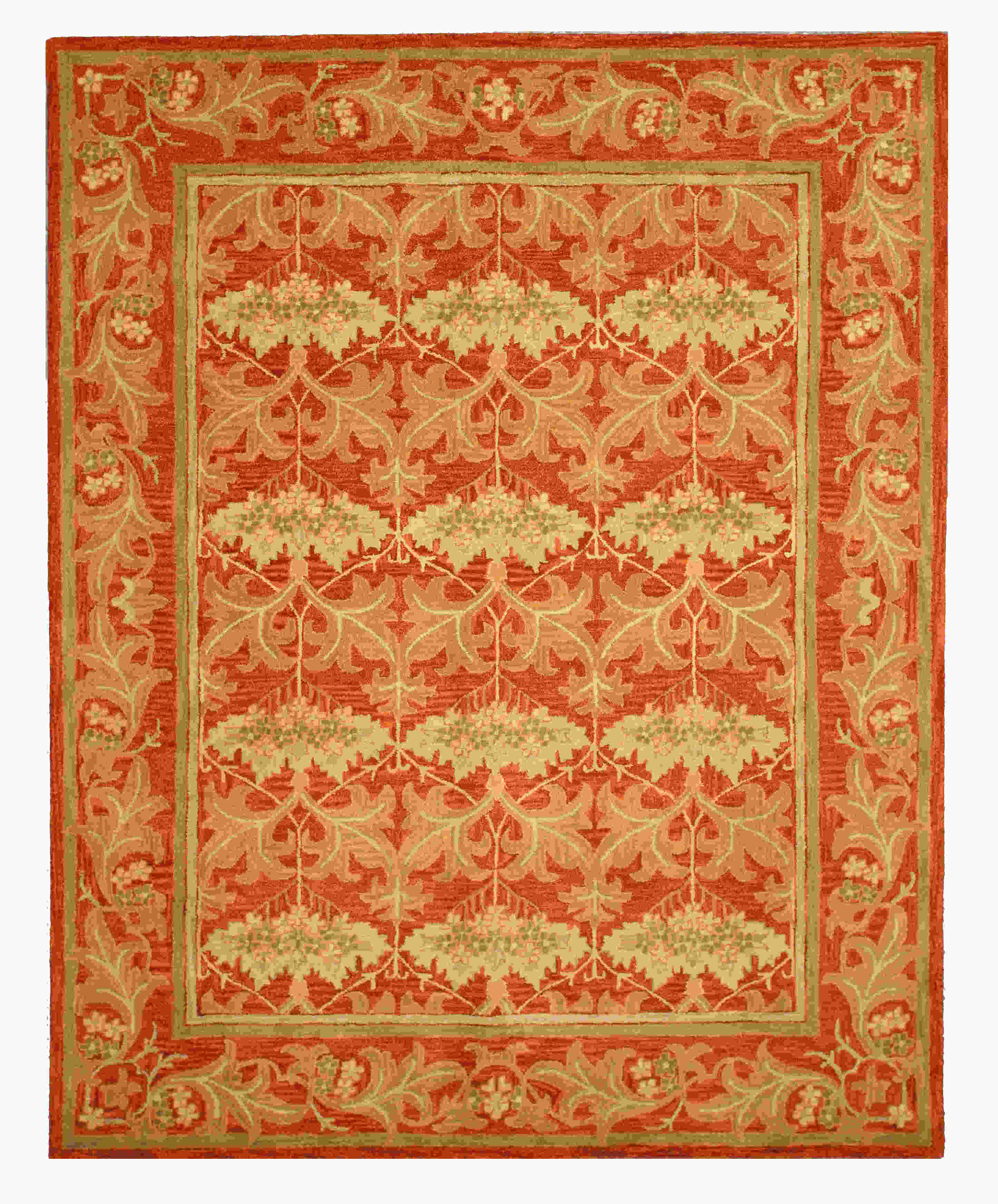 Eorc T112rt Rust Hand Tufted Wool Morris Rug