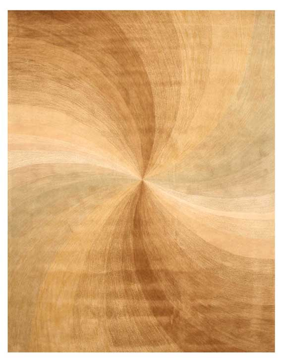 Eorc T67be Gold Hand Tufted Wool Beige Swirl Rug