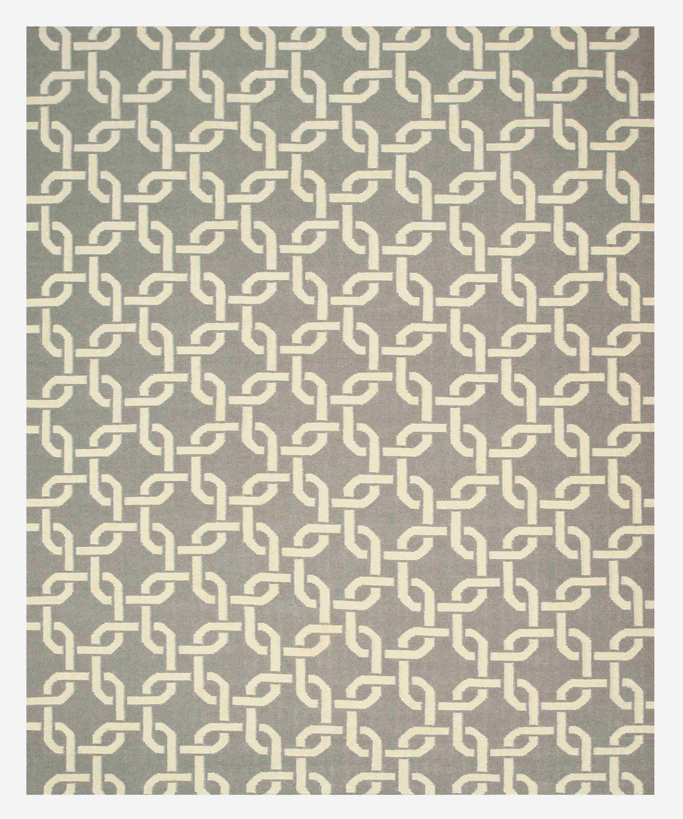 Eorc Tlnk1gy Grey Handmade Wool Links Dhurrie Rug