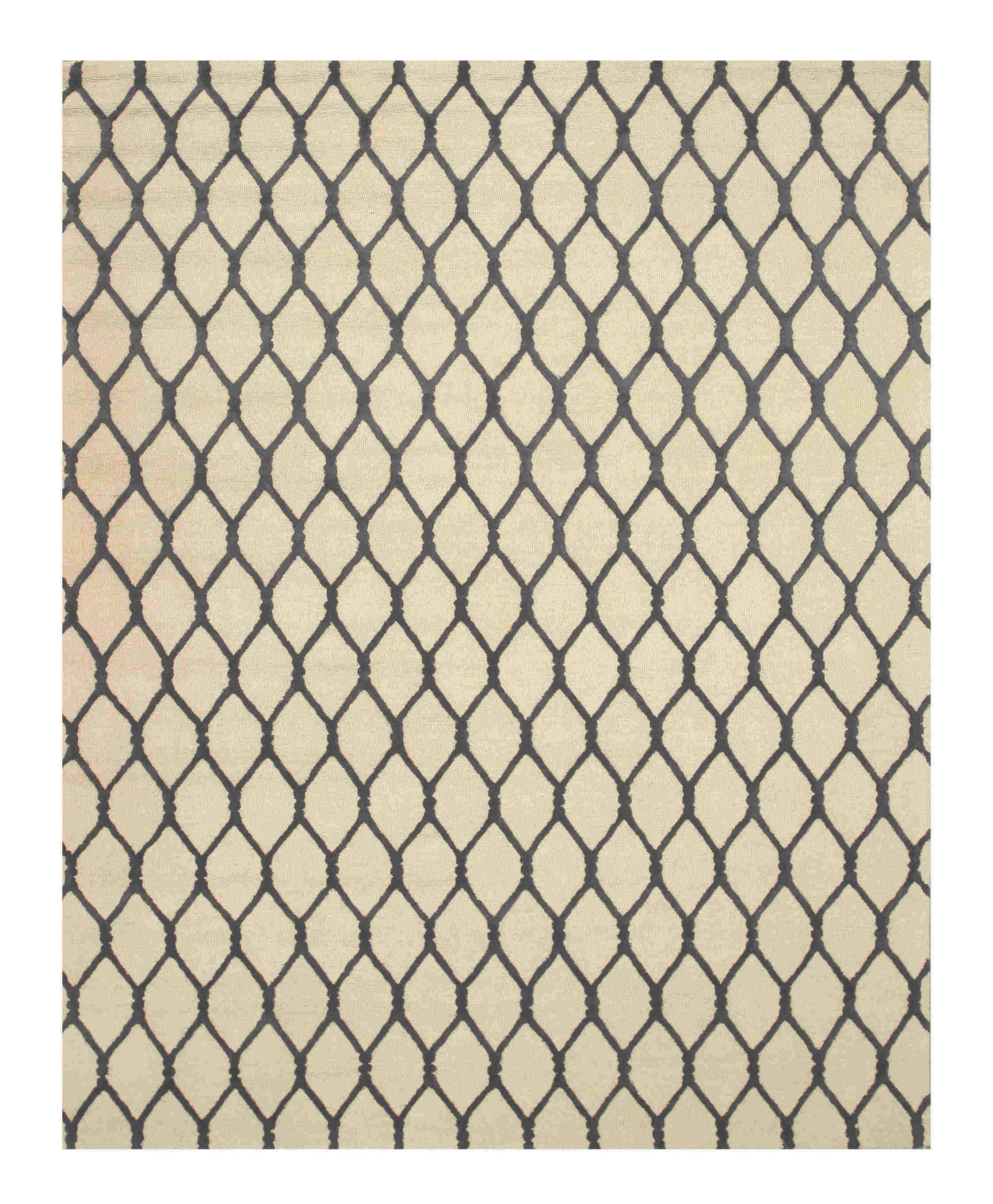 Eorc Vc1001bg Ivory Hand Tufted Wool Chain-link Rug