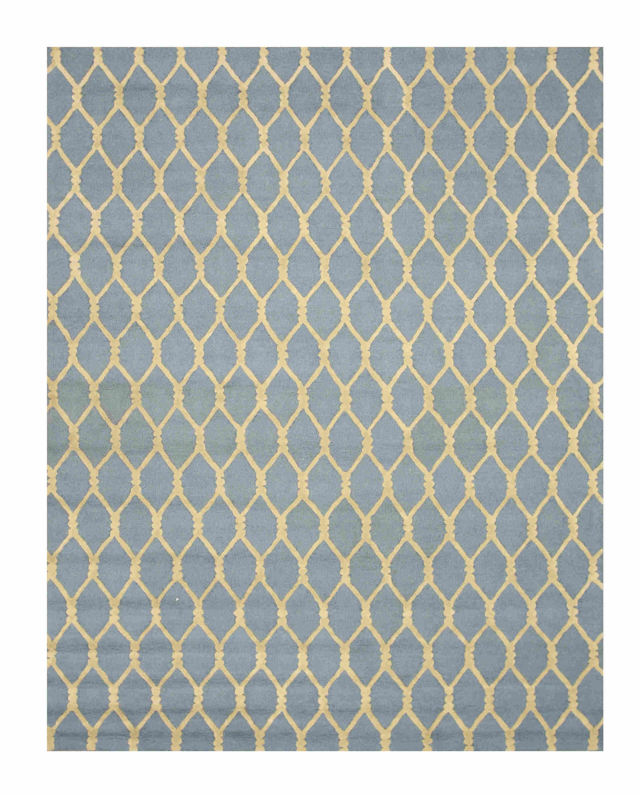 Eorc Vc1001bl Blue Hand Tufted Wool Chain-link Rug
