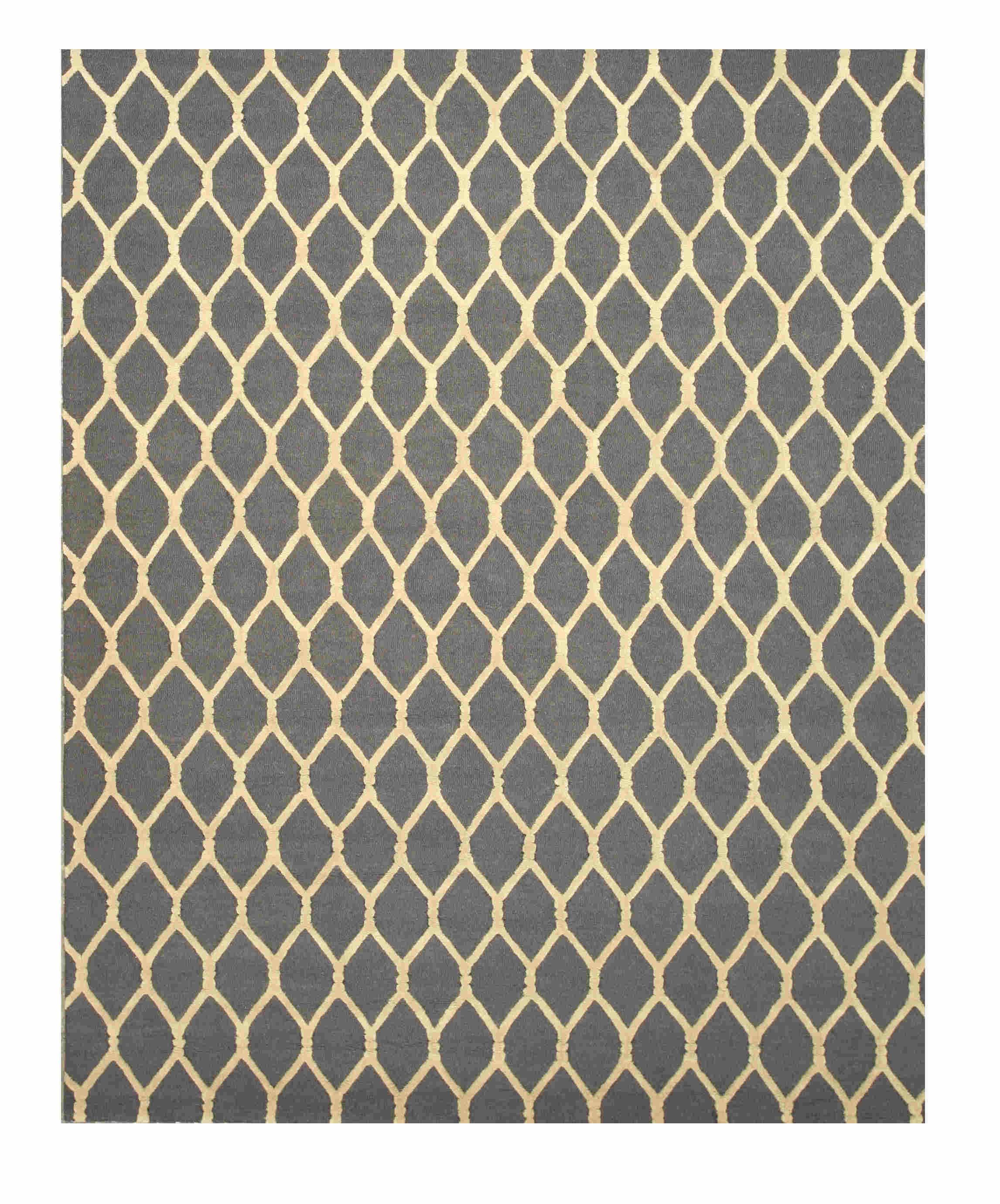 Eorc Vc1001gy Charcoal Hand Tufted Wool Chain-link Rug