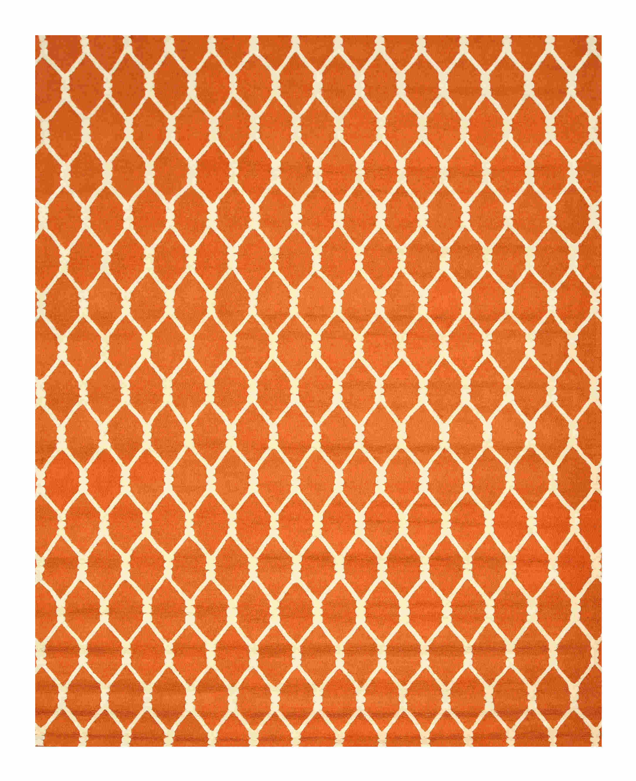 Eorc Vc1001or Orange Hand Tufted Wool Chain-link Rug