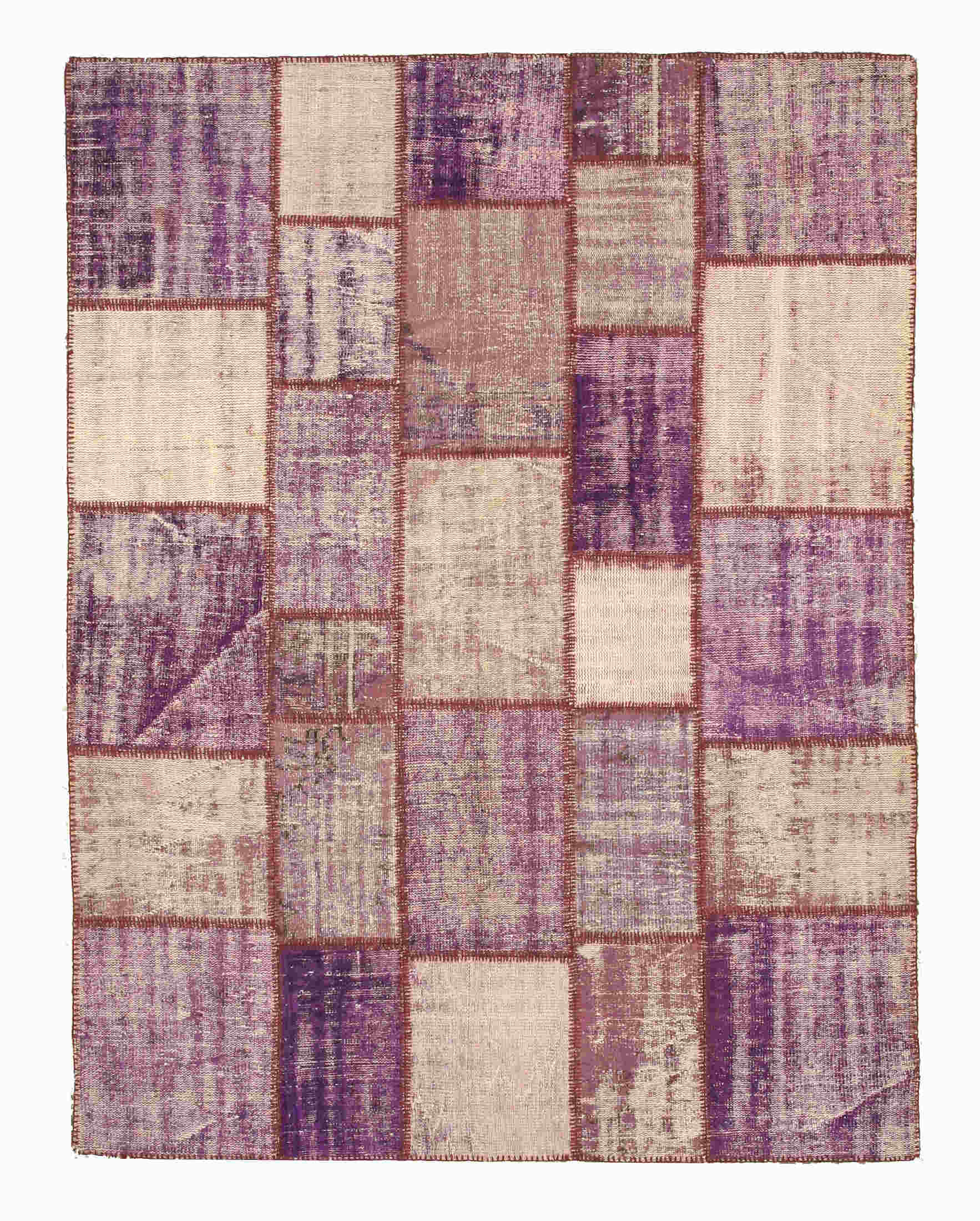 Eorc X35329 Purple Hand Knotted Wool Turkish Patch Rug