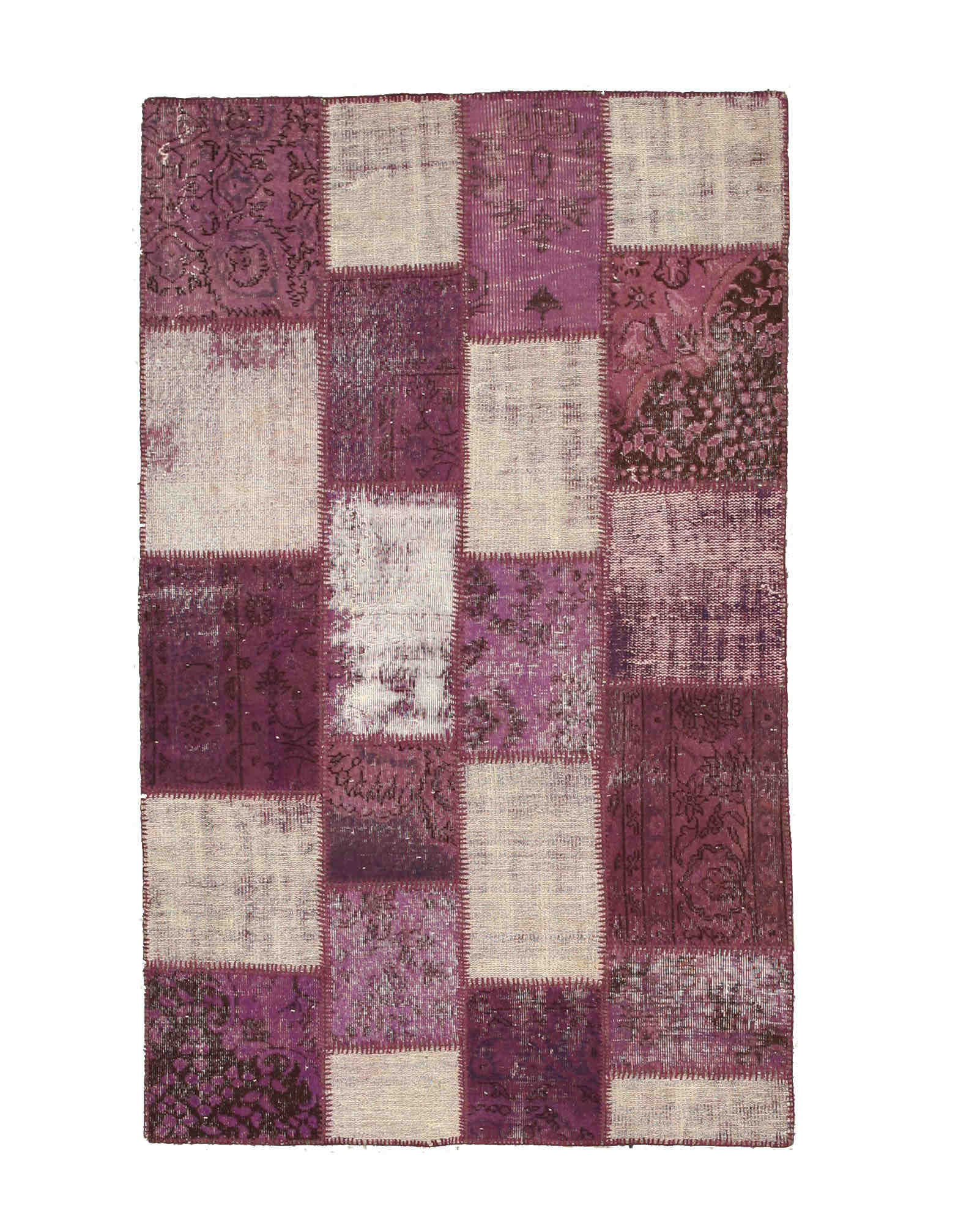 Eorc X35339 Purple Hand Knotted Wool Turkish Patch Rug