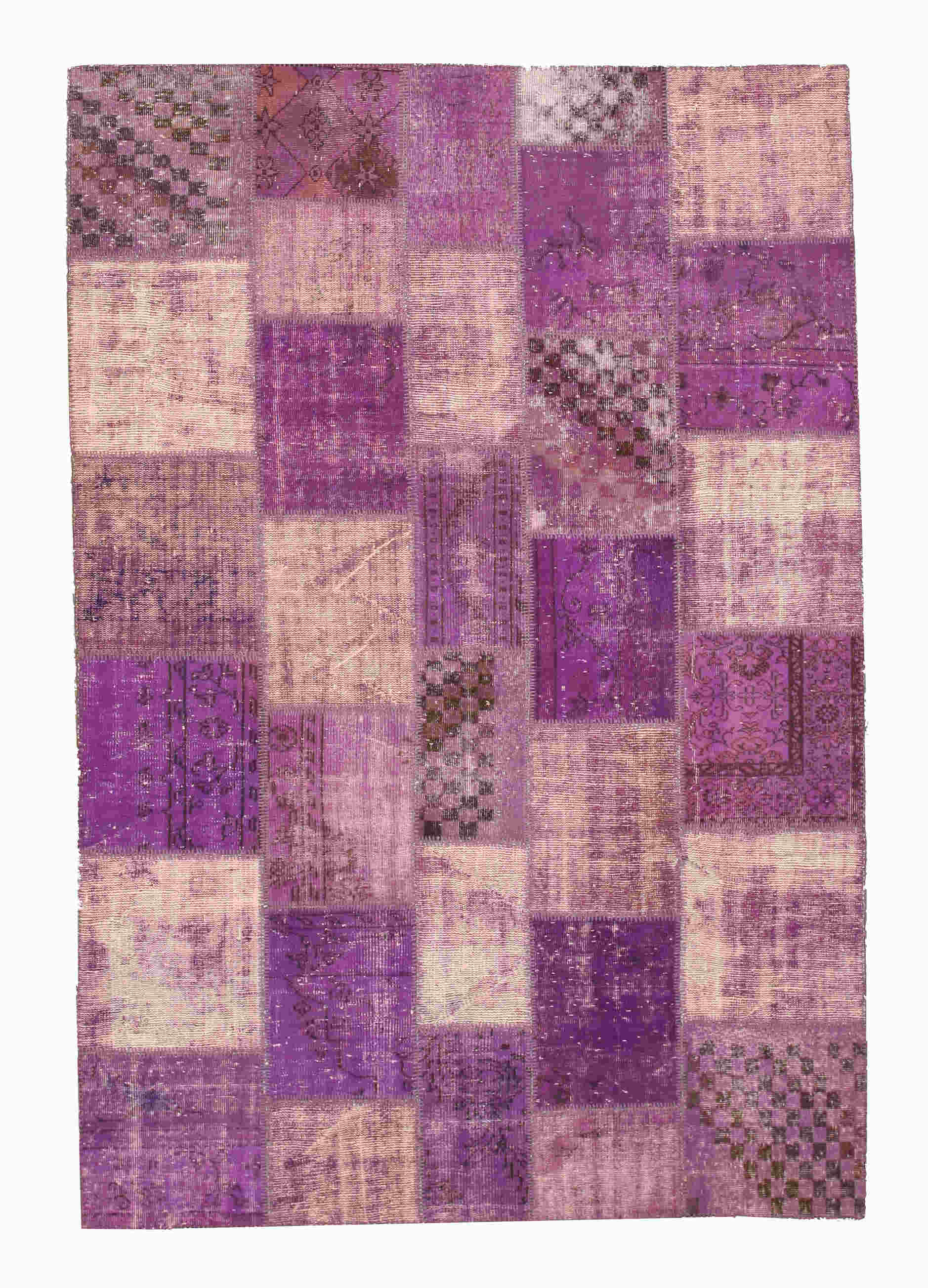 Eorc X35360 Purple Hand Knotted Wool Turkish Patch Rug