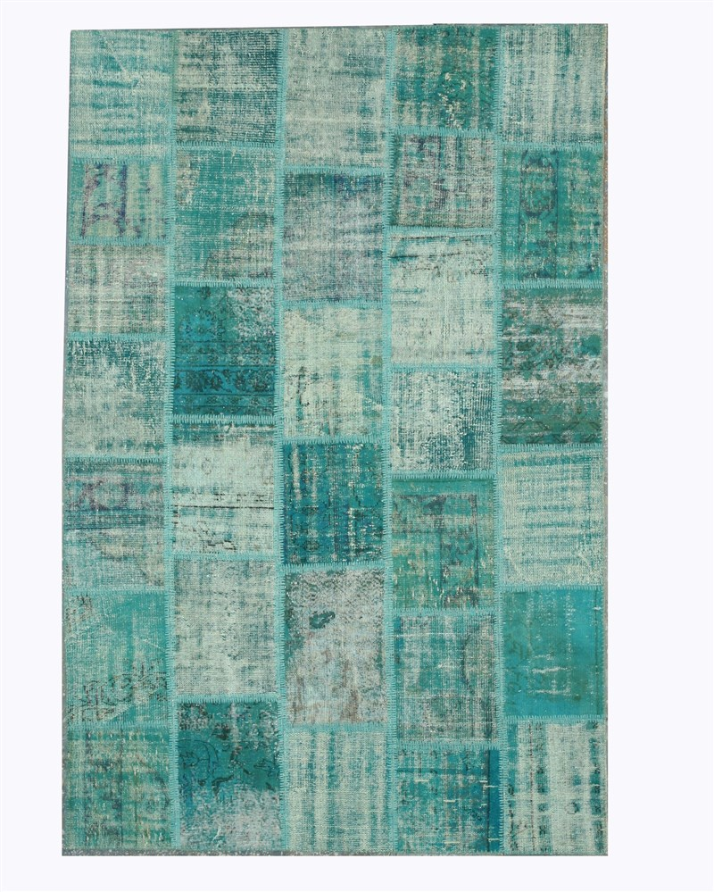 Eorc X35375 Hand Knotted Wool Turkish Patch Rug, 6'6 X 10', Light Green