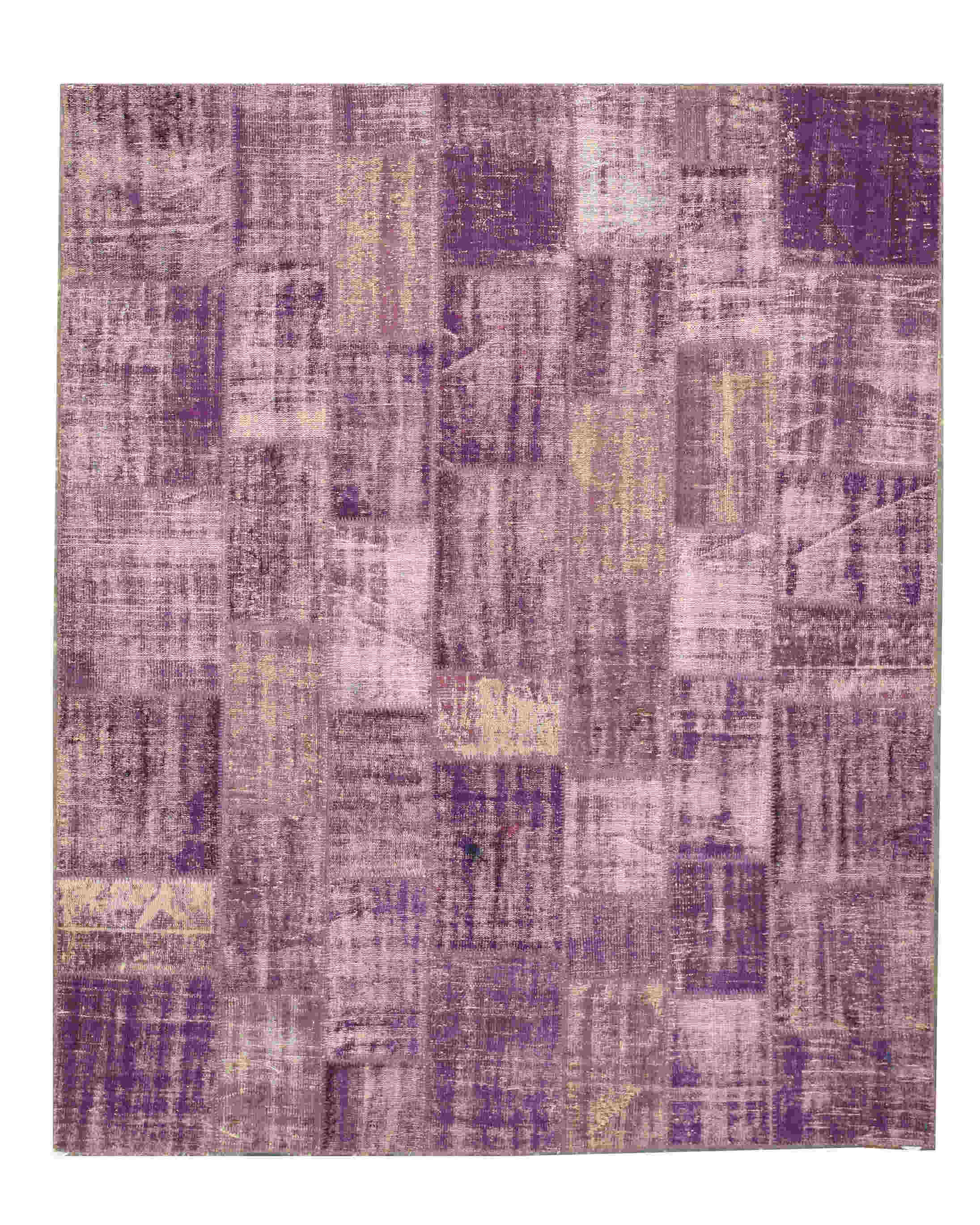 Eorc X35995 Purple Hand Knotted Wool Turkish Patch Rug