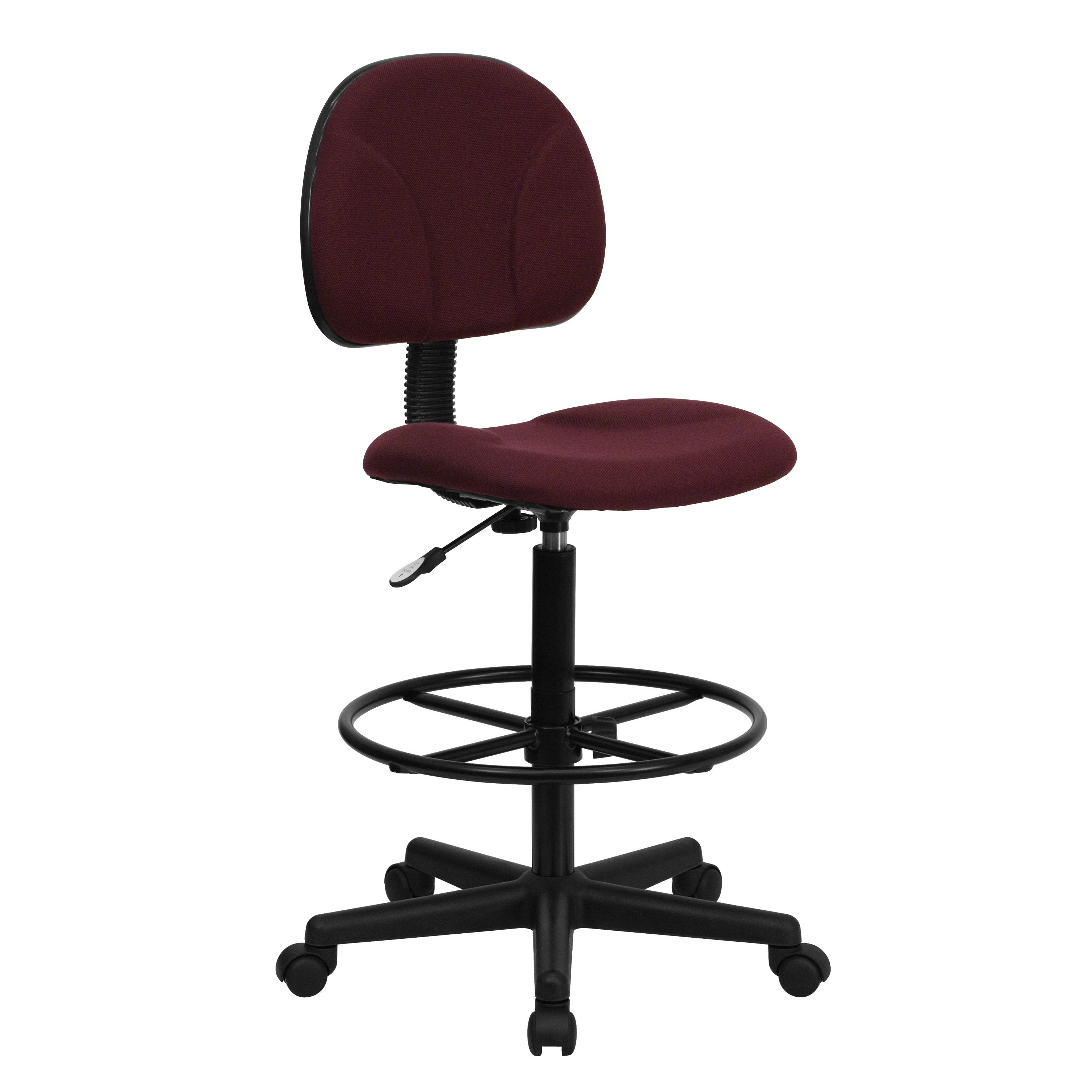 Flash Furniture  Small Back Drafting Stool Burgundy Fabric Upholstery