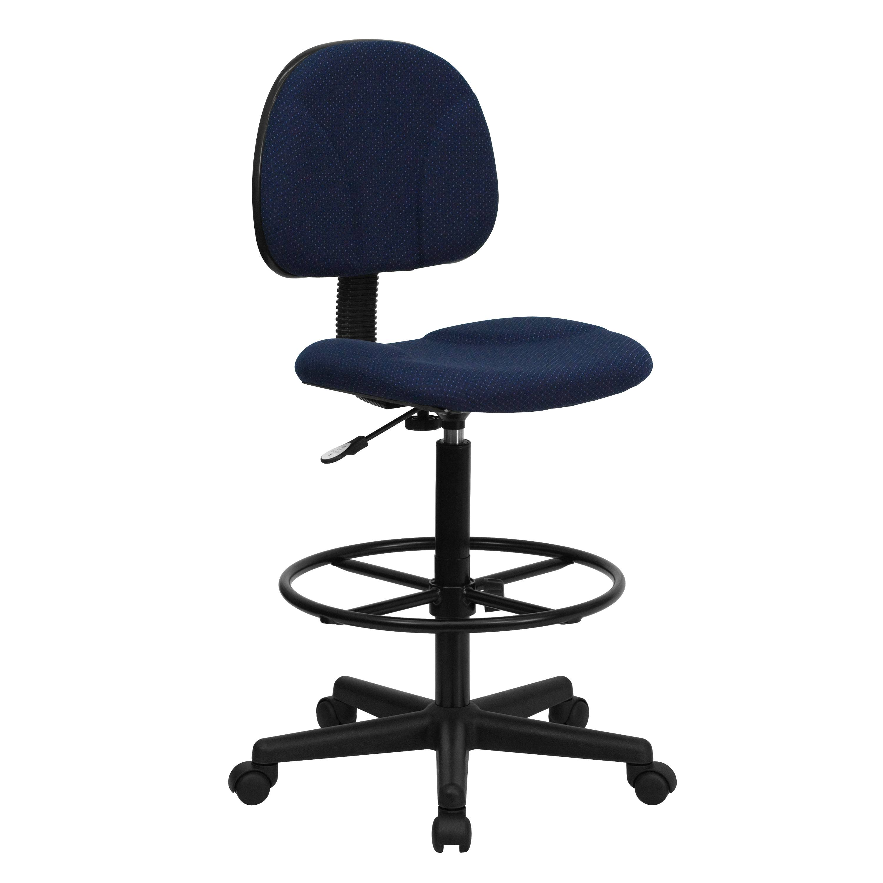 Flash Furniture  Small Back Drafting Stool Navy Blue Patterned Fabric Upholstery