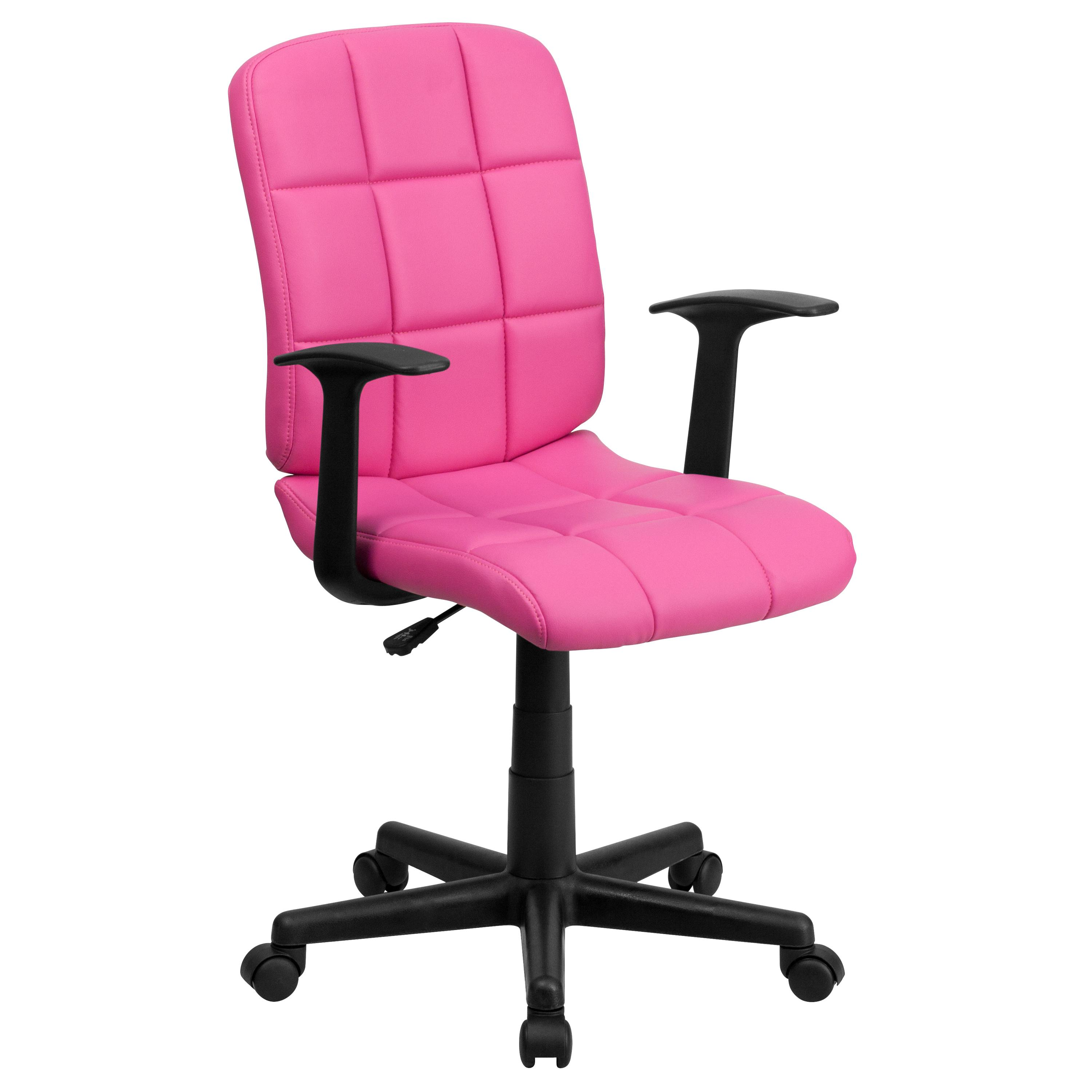 Flash Furniture  Mid-back Swivel Computer Chair Pink Vinyl Upholstery