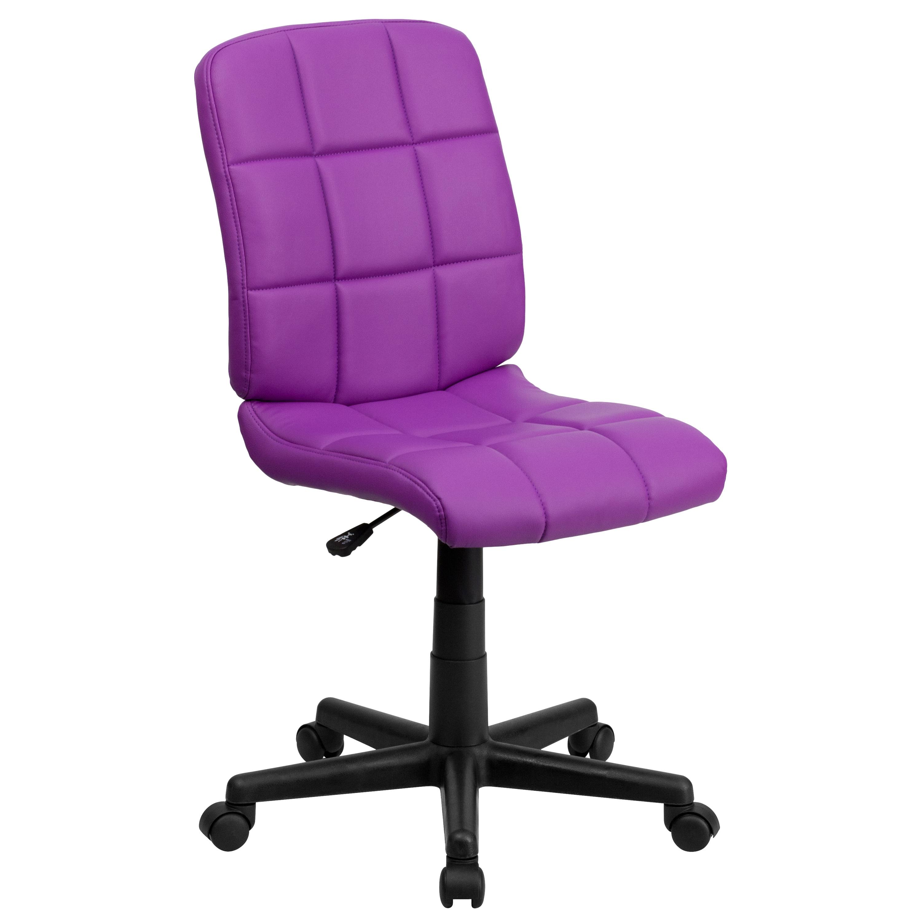 Flash Furniture  Mid-back Swivel Computer Chair Purple Vinyl Upholstery