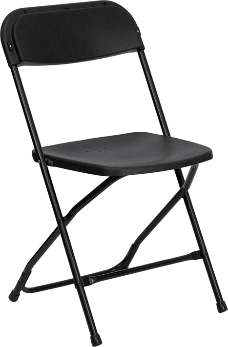 Flash Furniture  Black Plastic Folding Chair 800 Lb. Weight Capacity