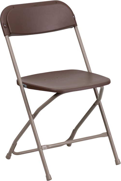 Flash Furniture  Brown Plastic Folding Chair 800 Lb. Weight Capacity