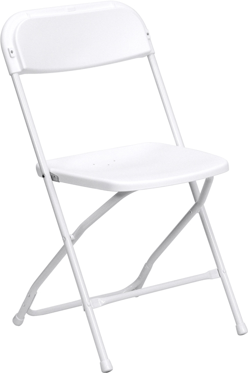 Flash Furniture  White Plastic Folding Chair 800 Lb. Weight Capacity