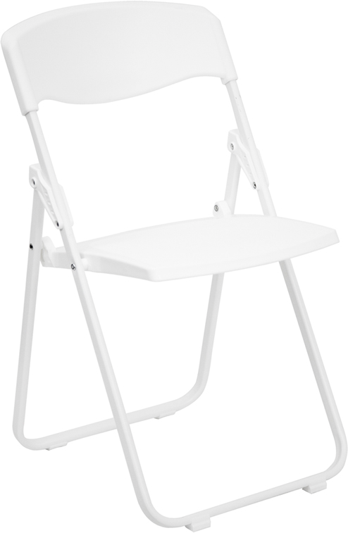 Flash Furniture  Premium White Plastic Folding Chair 880 Lb. Static Load Capacity