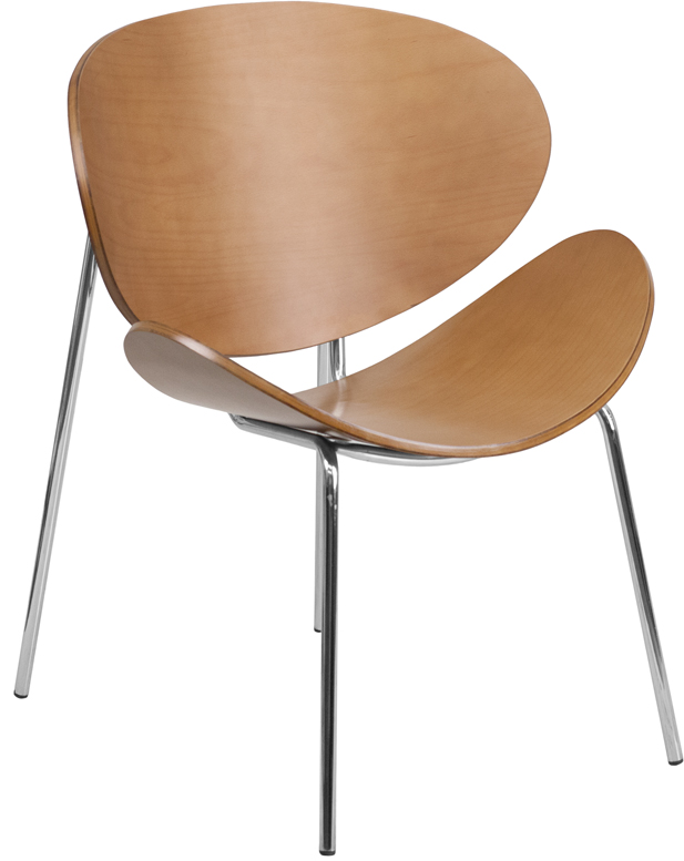 Flash Furniture  Wood Side Chair Curved Wood Back And Seat