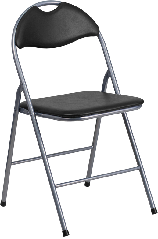 Flash Furniture  Padded Folding Chair Black Vinyl Upholstered Seat And Back