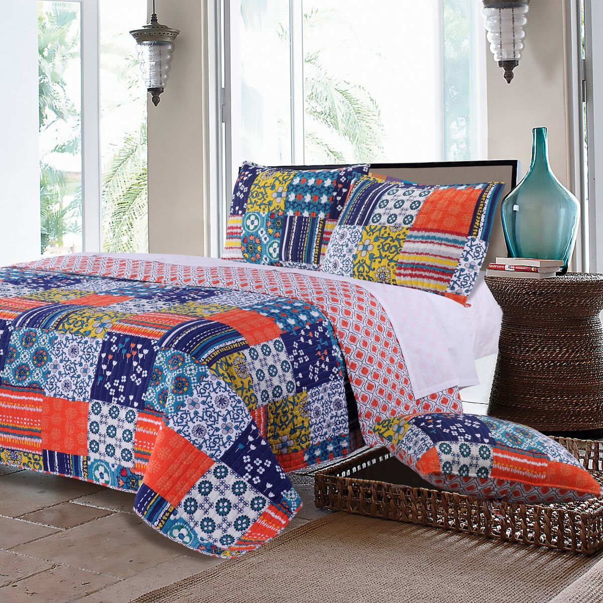 Arianna Teal Quilt Set, 3-Piece Full/Queen