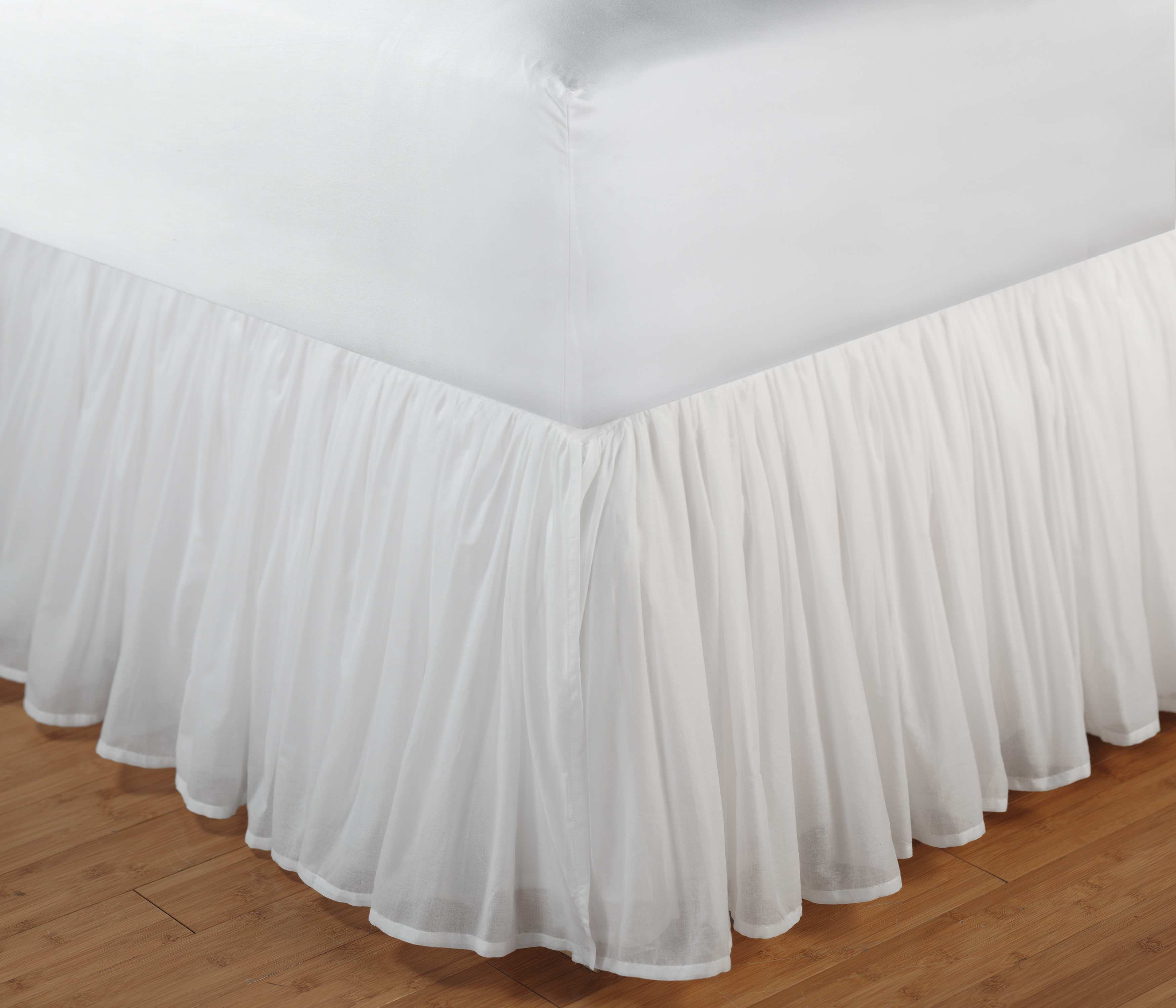 Cotton Voile White Bed Skirt 15 Full