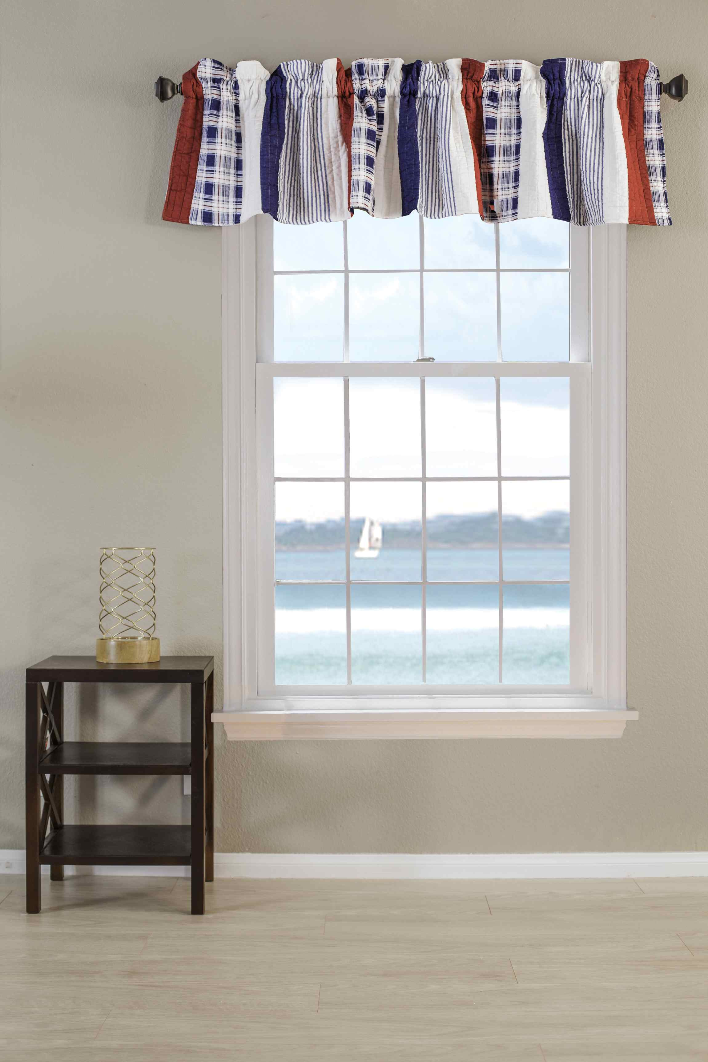 Nautical Stripe Multi Window Valance, Quilted