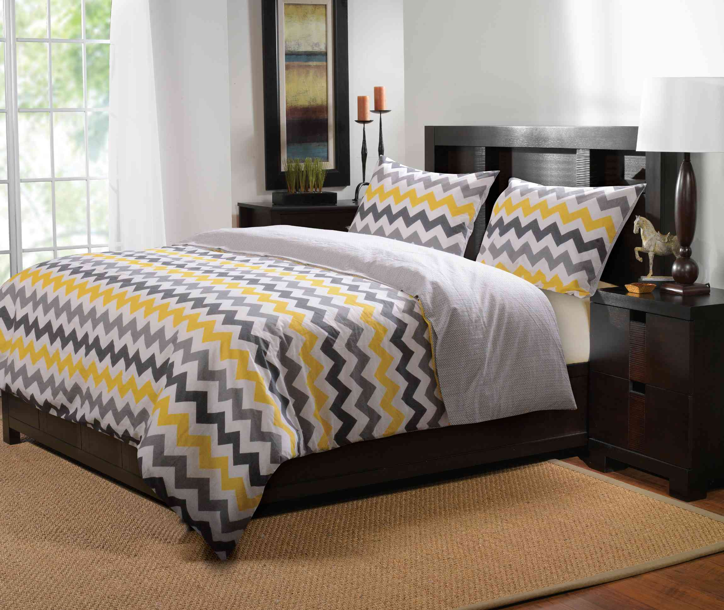 Vida Yellow/gray Duvet Cover Set, 3-pc King