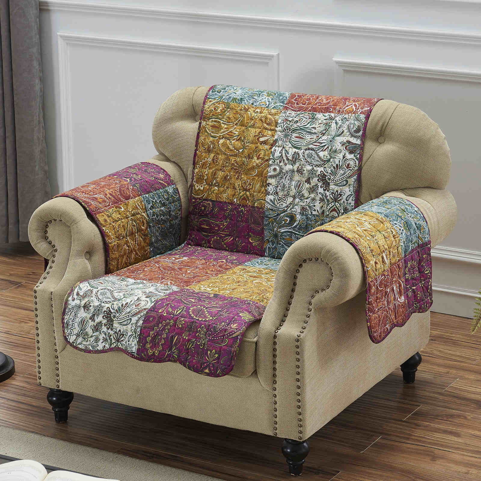 Paisley Slumber Spice Furniture Protector Arm Chair