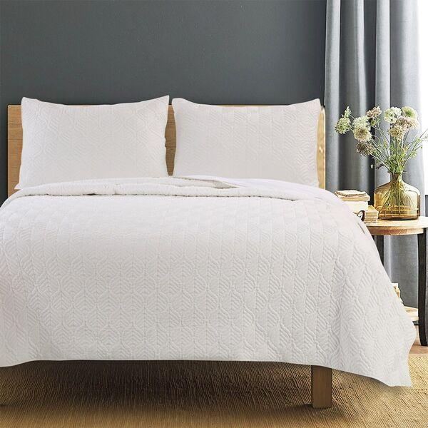 Piper Ivory Quilt Set, 3-piece Full/queen