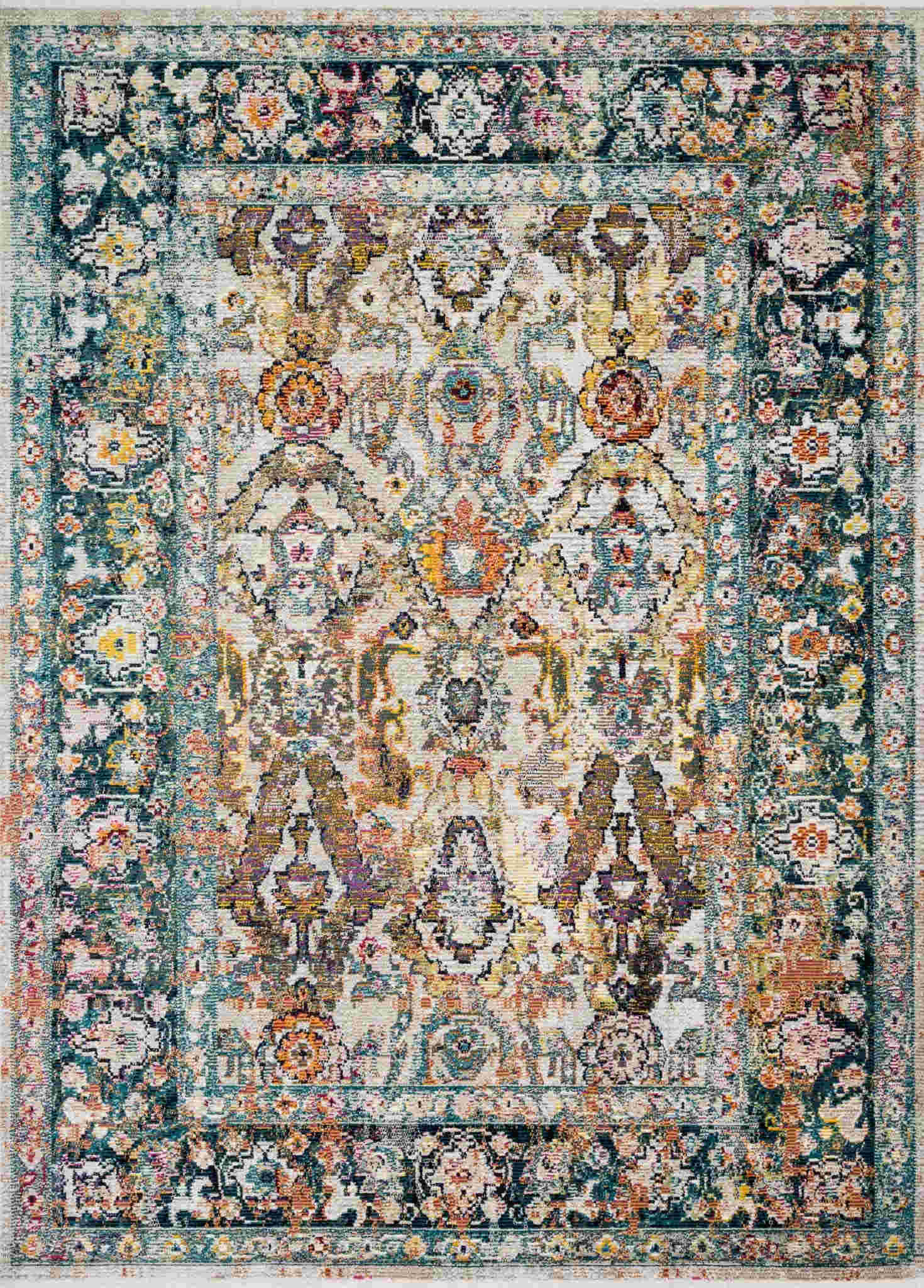 Loloi Silvia Sil-01 Stone / Teal Rug By Justina Blakeney