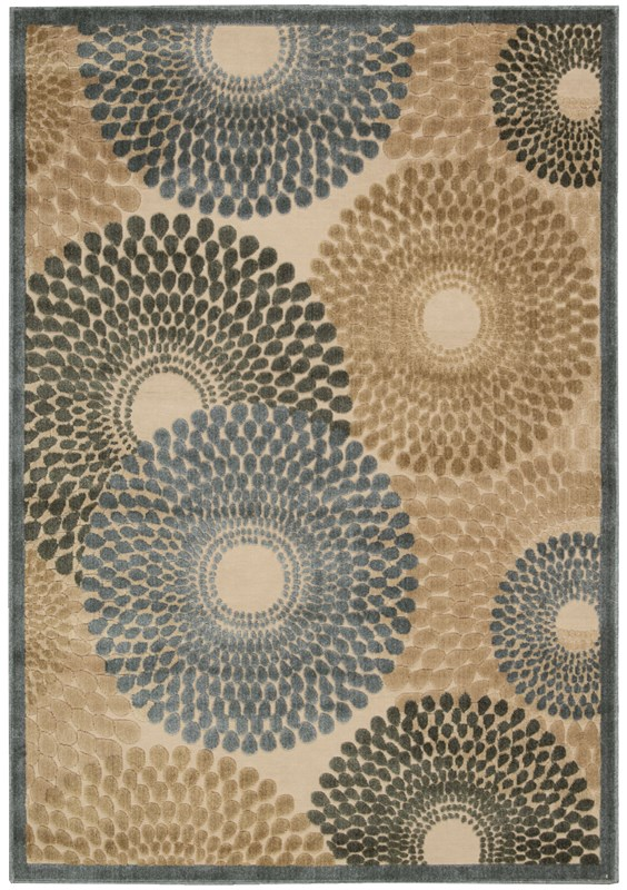 Nourison Graphic Illusions 132 Teal Rug