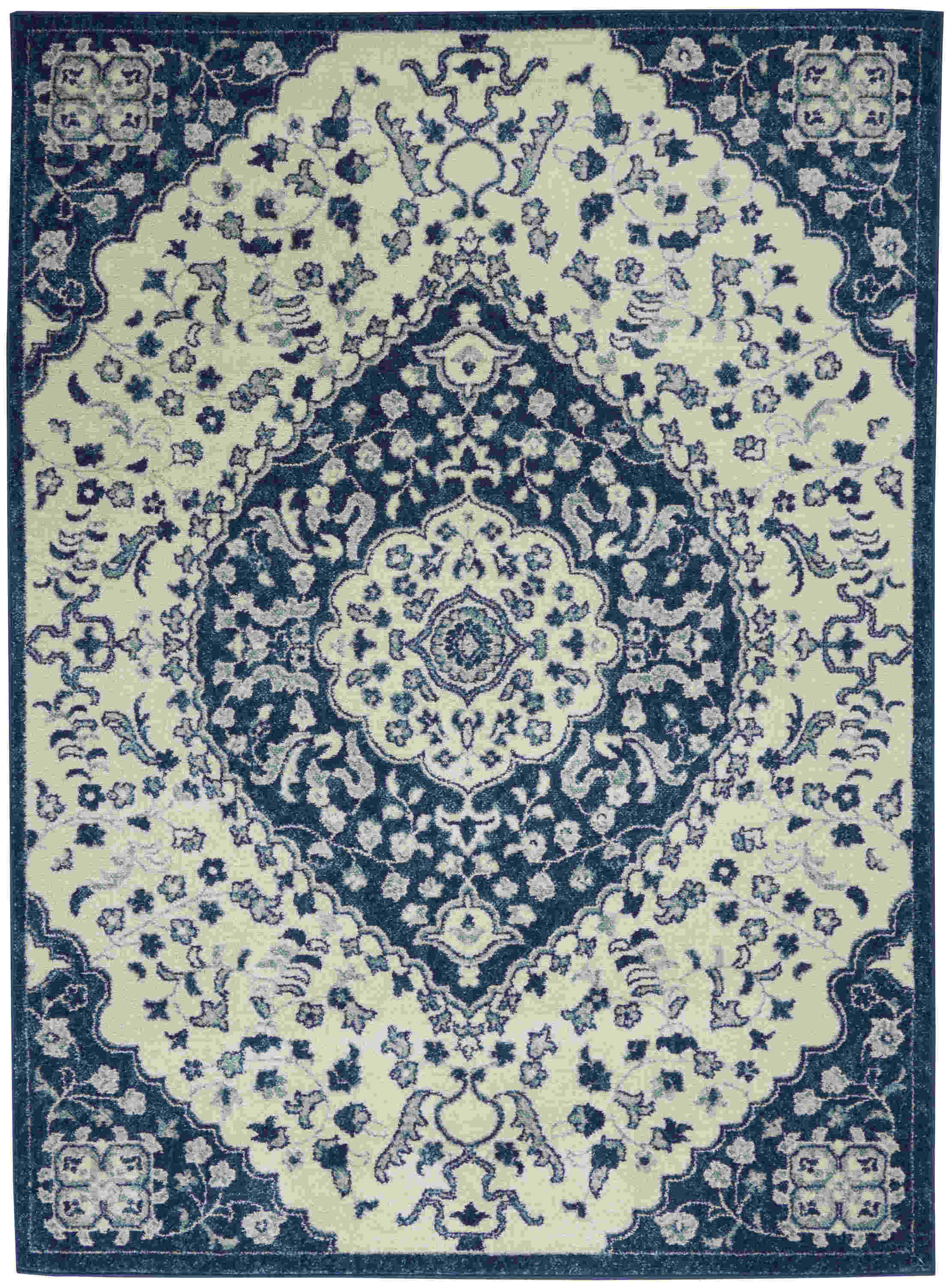 Nourison Passion Contemporary Ivory Blue Rug Psn30