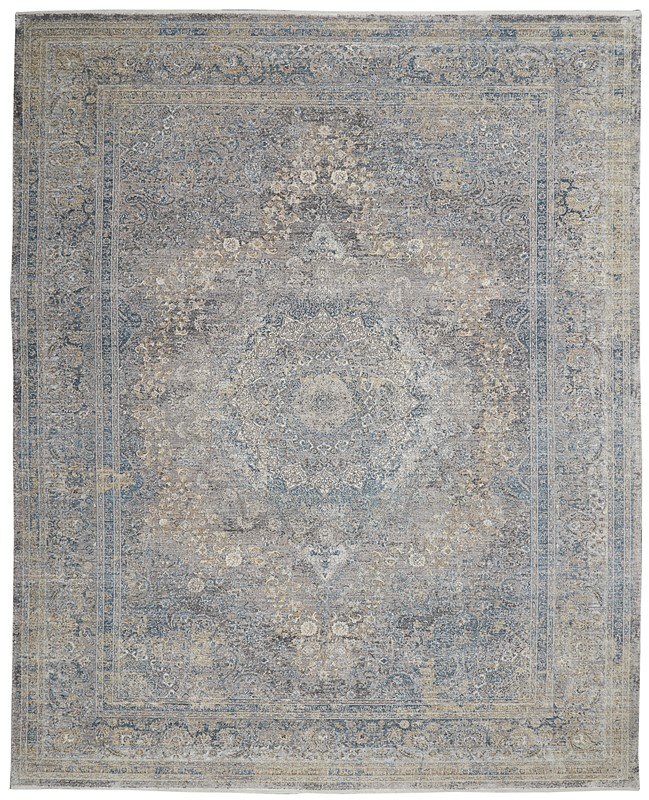 Nourison Starry Nights Traditional Cream Blue Rug Stn06