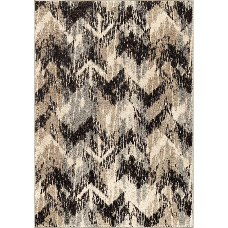 Orian Rugs Plush Pile Chevron Distressed Chevron Gray Area Rug 5'3 X 7'6