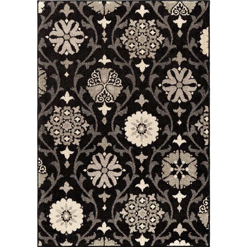 Orian Rugs Floral Floral Chico Black Area Rug 7'10 X 10'10