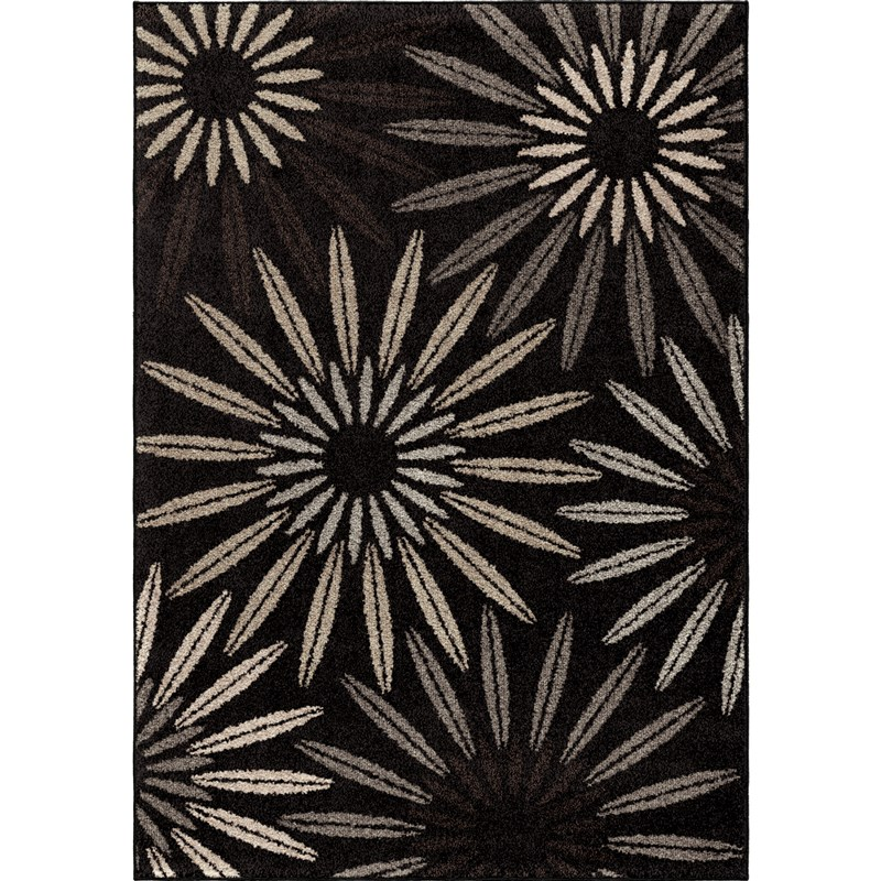 Orian Rugs Floral Floral Halley Black Area Rug 5'3 X 7'6
