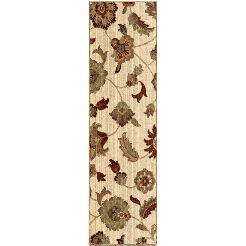 Orian Rugs Unique Designs Floral Frazier Ivory Runner 2'3 X 8'