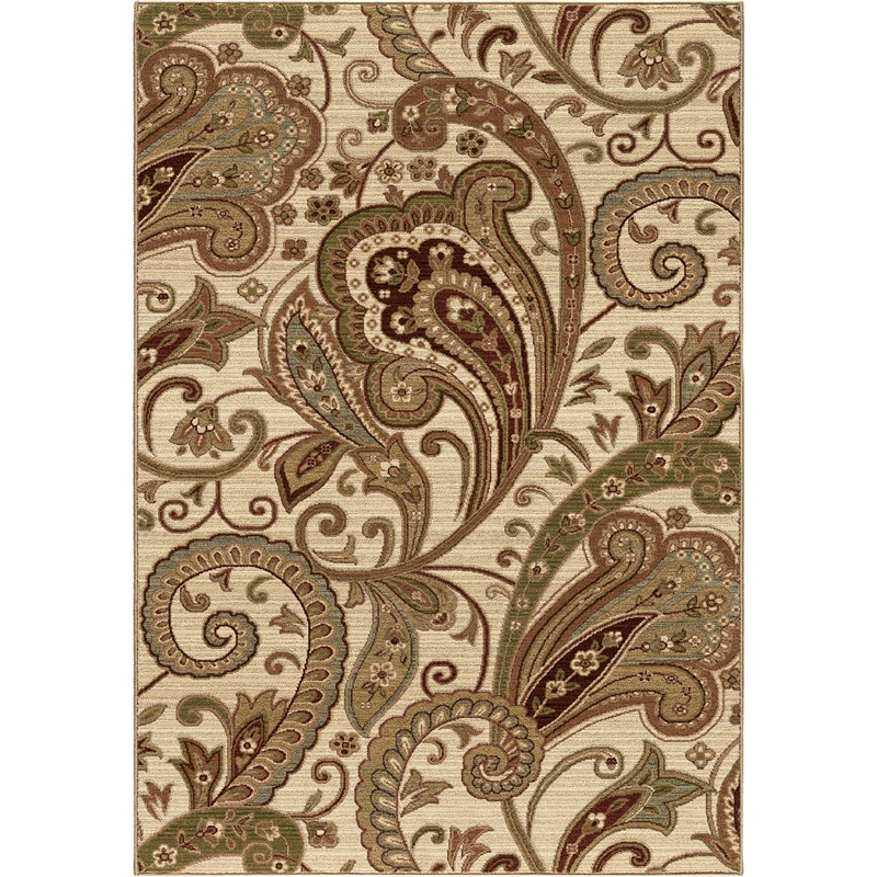 Orian Rugs Unique Designs Paisley Windsor Beige Area Rug 5'3 X 7'6