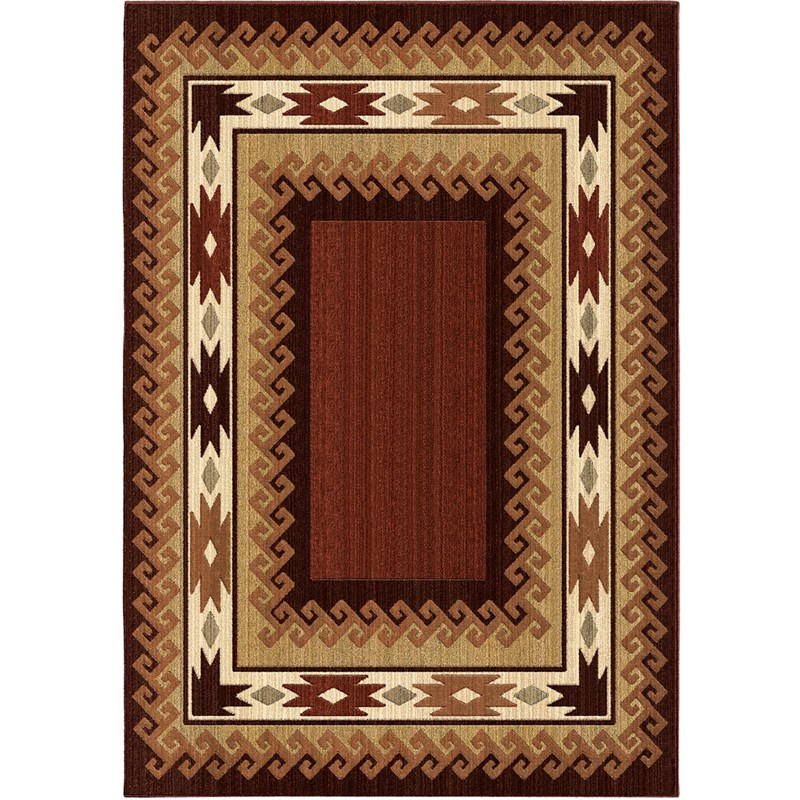 Orian Rugs Unique Designs Lodge Durango Brown Area Rug 6'7 X 9'8