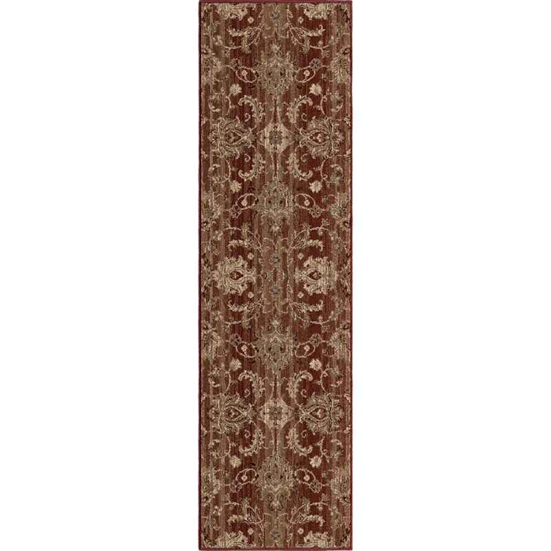 Orian Rugs Unique Designs Leaves Cae Red Runner 2'3 X 8'