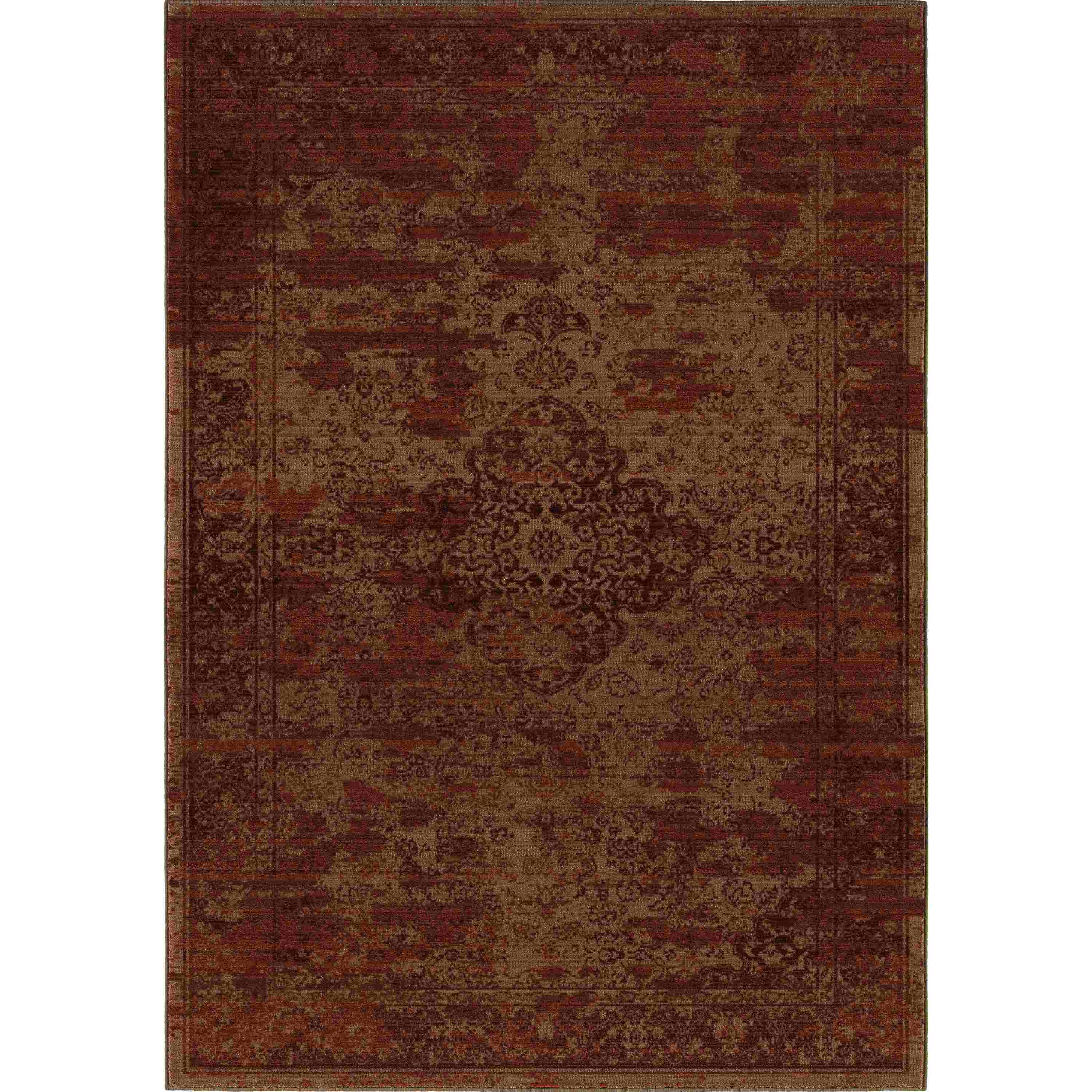 Orian Rugs Indoor Damask Faded Traditional Red Area Rug 5
