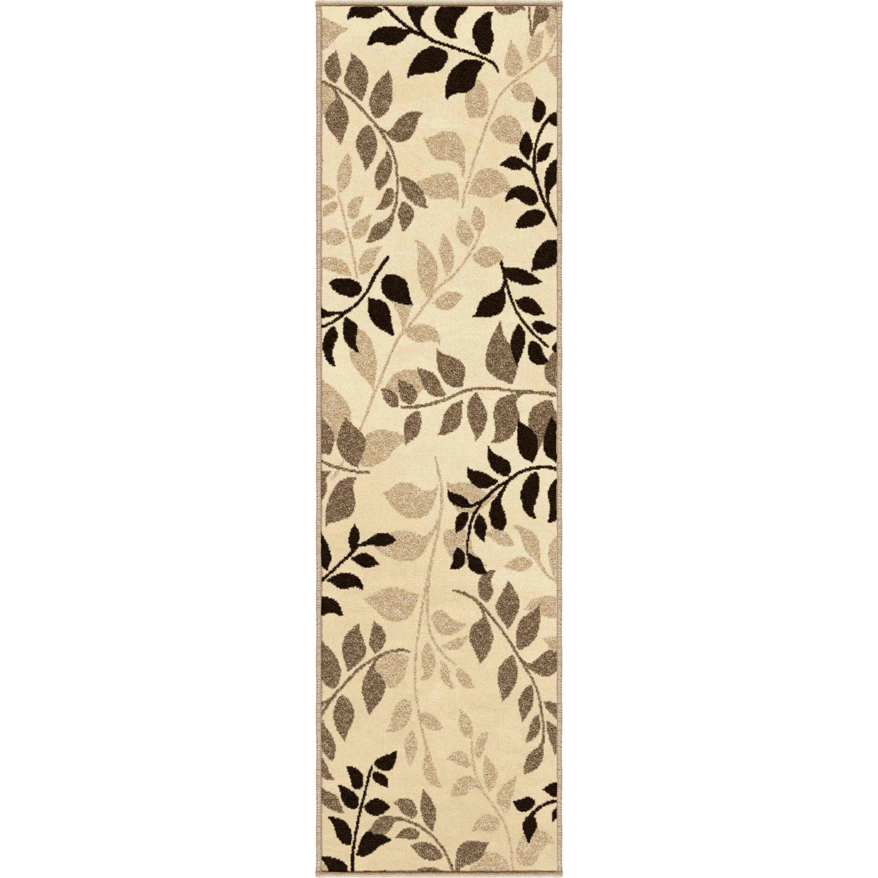 Orian Rugs Indoor/outdoor Leaves Olive Grove Driftwood Runner