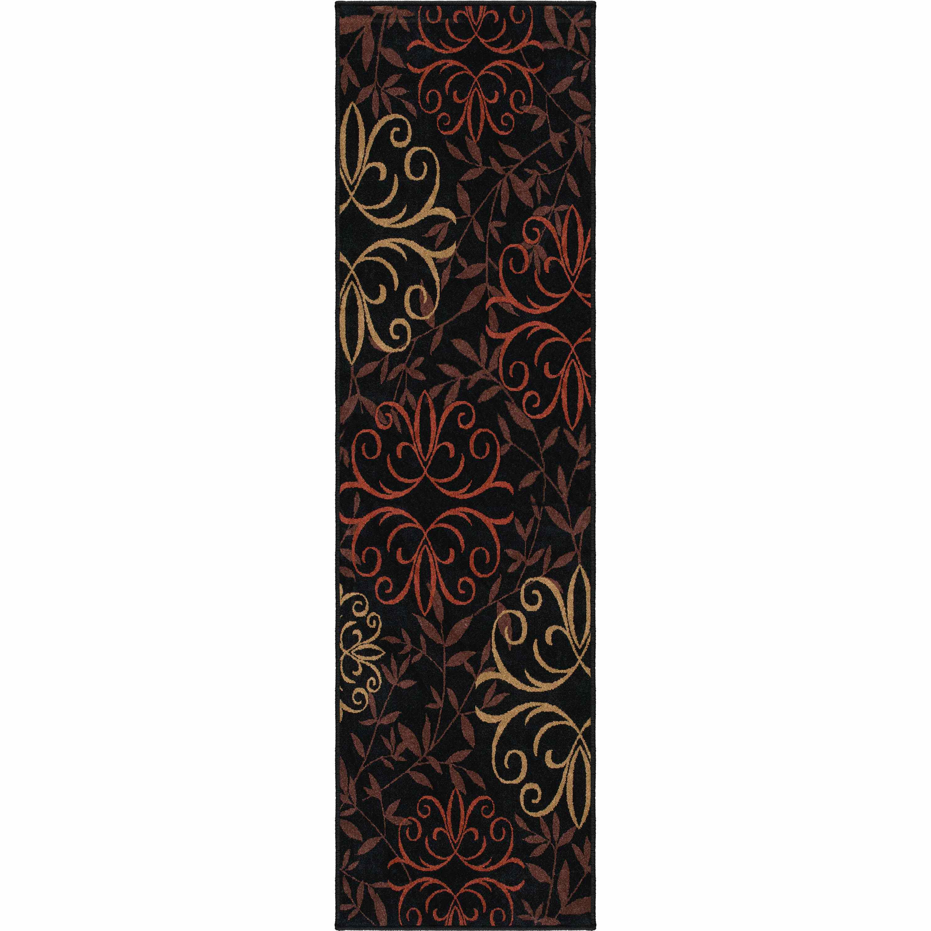 Orian Rugs Indoor/outdoor Medallion Josselin Black Runner