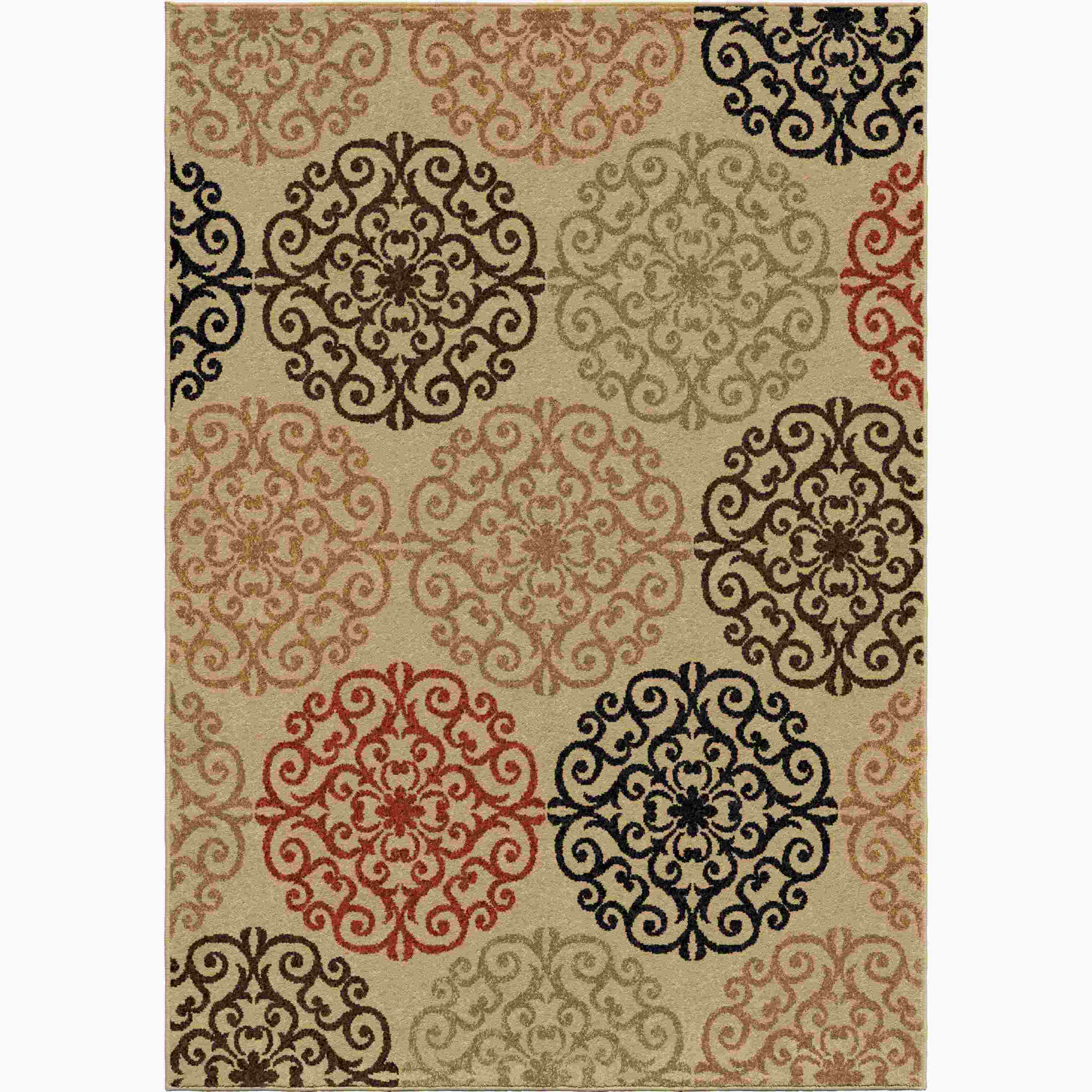 Orian Rugs Indoor/outdoor Medallion Catalina Bisque Area Rug